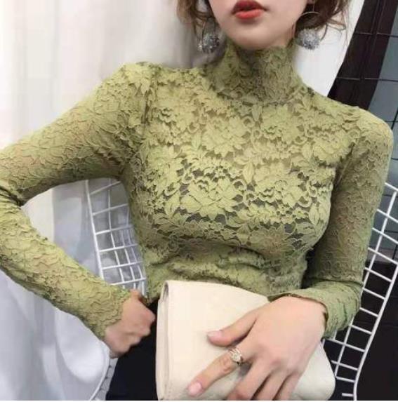 秋冬新款半高領修身蕾絲衫長袖T恤女韓版氣質緊身洋氣鏤空打底衫