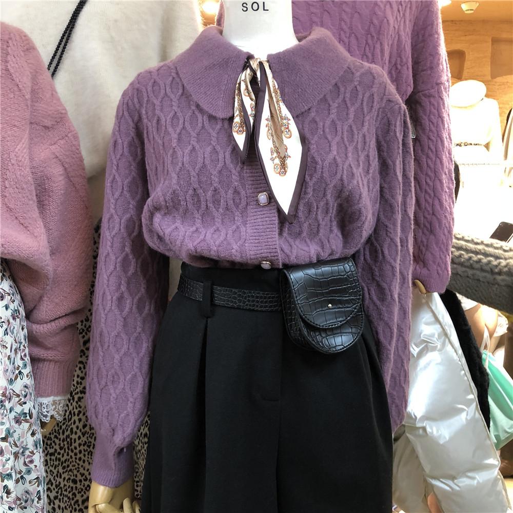 yoomini韓版chic冬裝法式小眾圍巾領毛衣寬松顯瘦燈籠袖開衫上衣