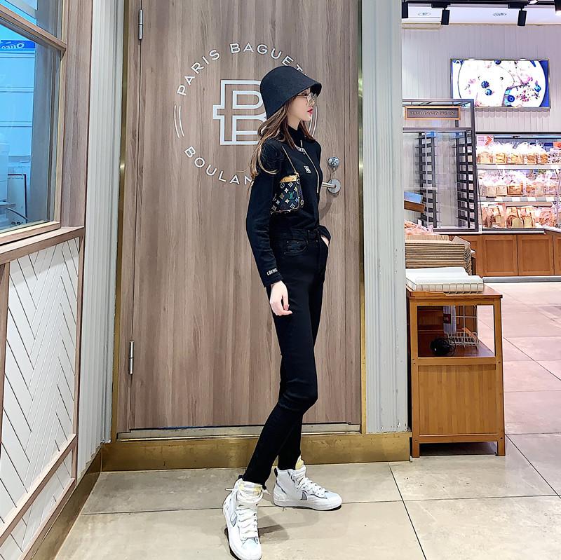 實拍實價  秋冬新款黑色牛仔褲高腰緊身彈力小腳褲