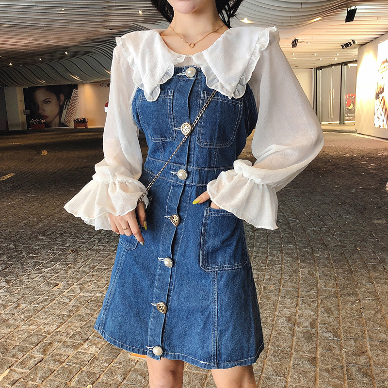 秋冬新款宽松娃娃领上衣配洋气修身单排扣牛仔背带裙中长款两件套