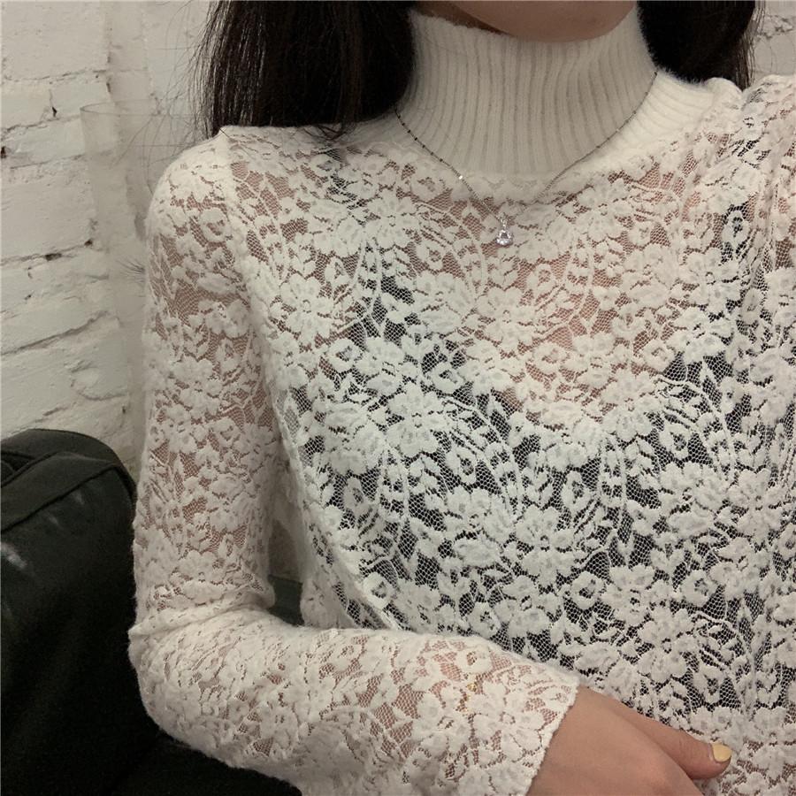 實拍實價2019秋冬季蕾絲打底衫內搭時尚領子拼毛上衣潮鏤空長袖