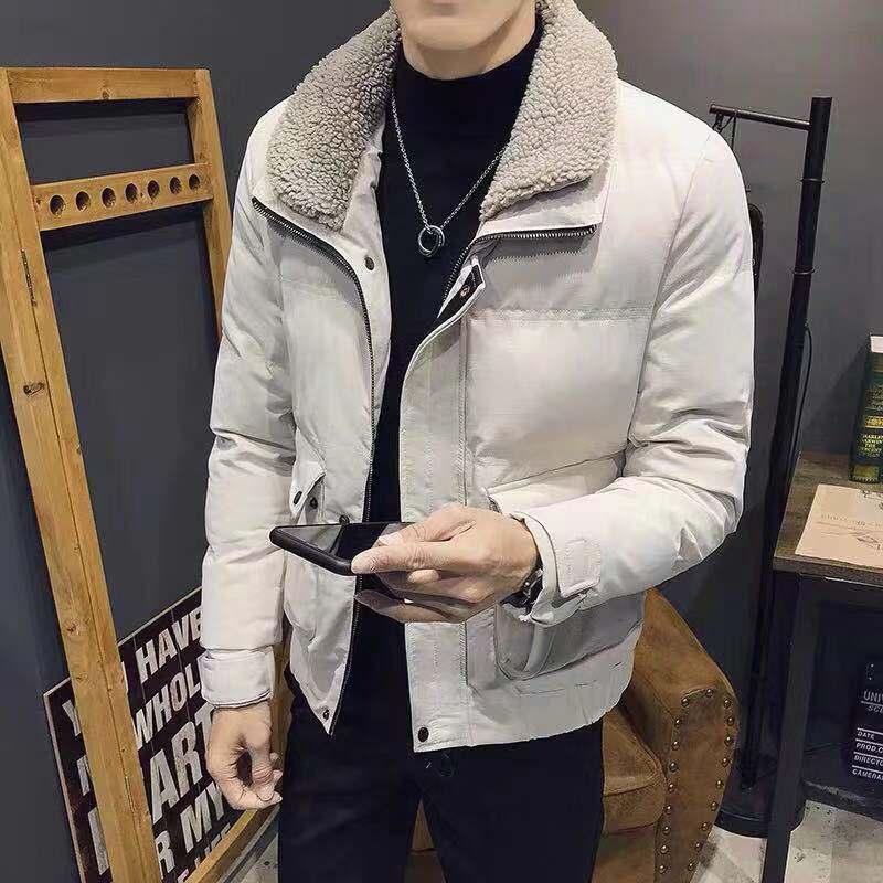 羊羔毛领短款棉服外套男士