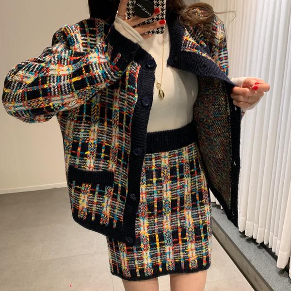 名媛小香風秋冬格子針織套裝彩色格子兩件套洋氣套裝裙