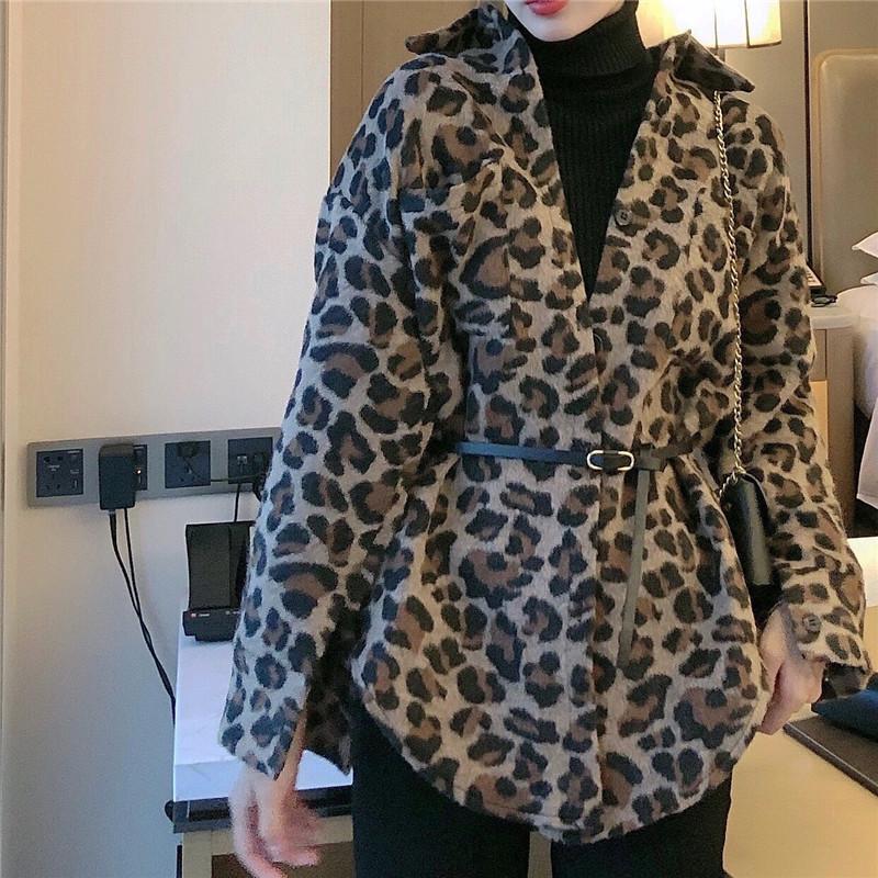 實拍實價 寬松豹紋中長款長袖加厚呢料襯衫外套送腰帶