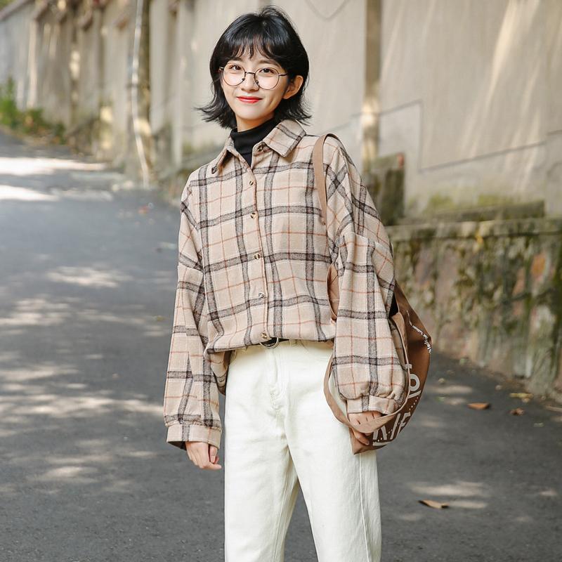 实拍 2019秋冬新款韩版格子毛呢中长款衬衣衬衫上衣