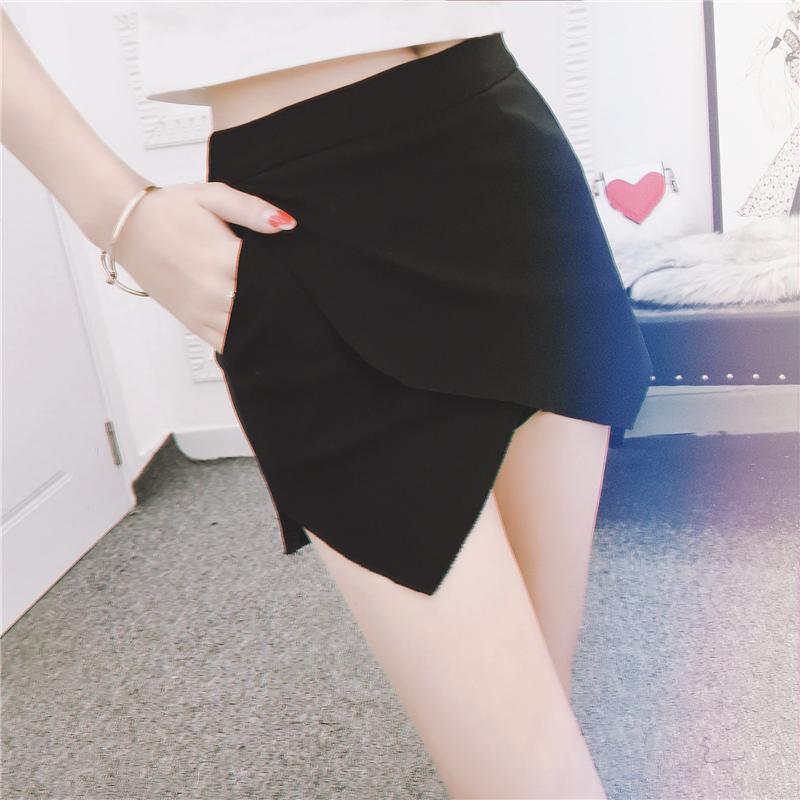2020早春新款chic不規則彈力修身顯瘦a字褲裙女百搭高腰半身裙褲