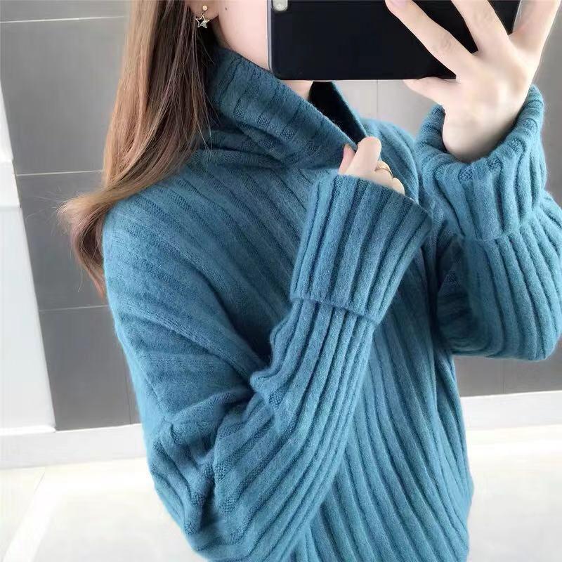 高領套頭毛衣女秋冬加厚打底衫2019新款外穿毛線衣寬松法式慵懶風