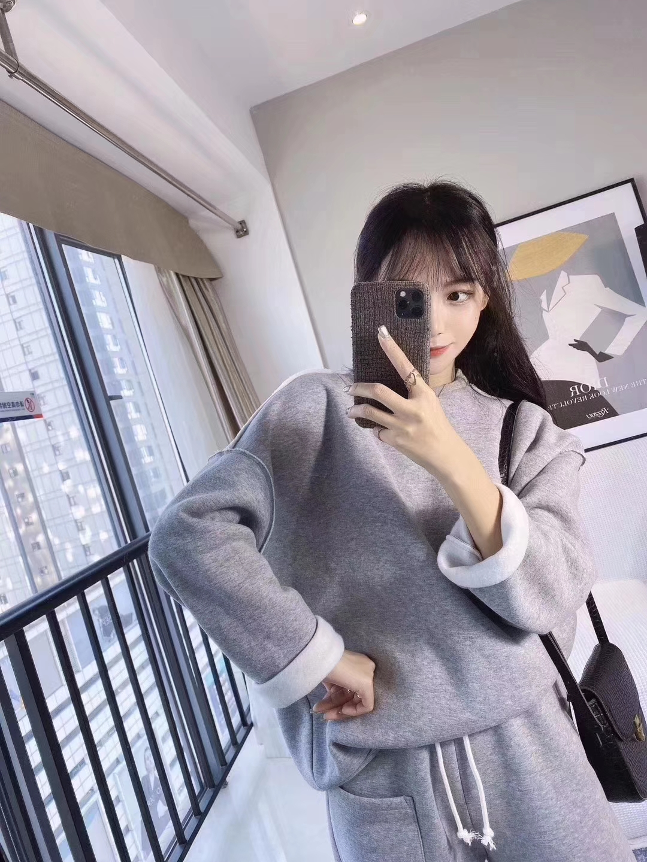 慵懶風套裝女2019秋冬新款韓版簡約寬松加絨衛衣顯瘦休閑褲兩件套