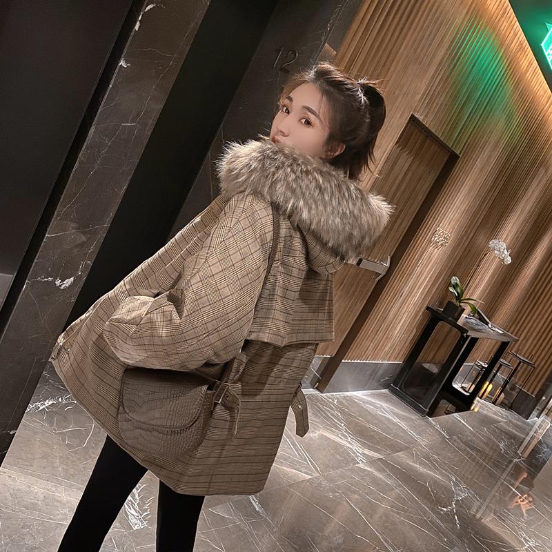 官方圖 新款羽絨服 女格子短款面包服小個子大毛領網紅棉服外套