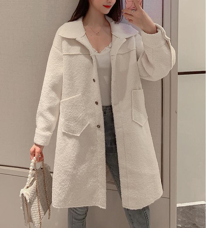 羊羔毛絨外套女裝秋冬裝2019新款中長款百搭顆粒絨小個子韓版大衣