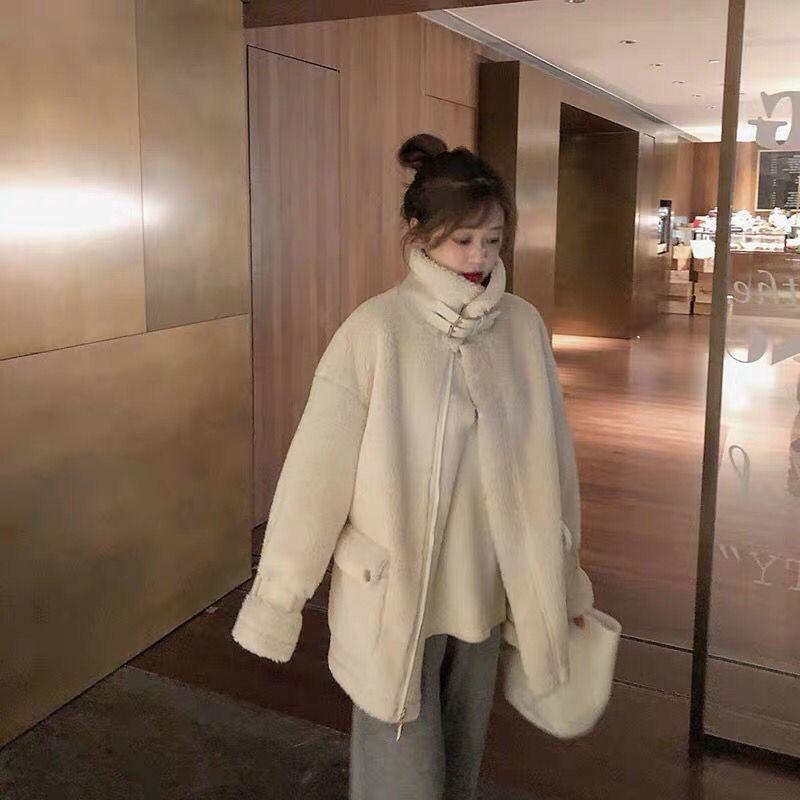 冬季韓版百搭羊羔毛外套女秋冬毛絨機車服皮毛一體寬松ins羊羔服