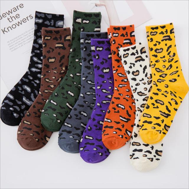 2019秋冬新款豹紋襪子女時尚堆堆襪全棉中筒女襪個性復古潮襪