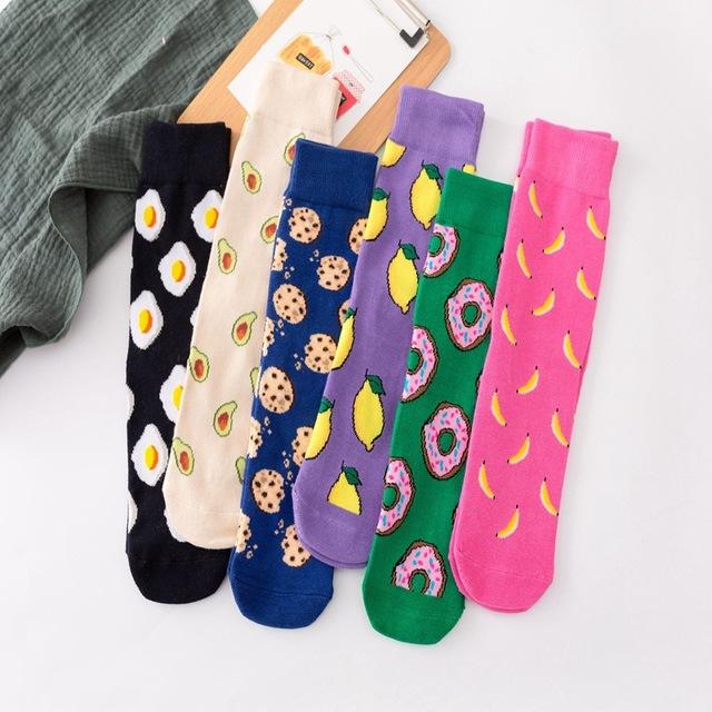 2019新款直板高筒潮襪水果男女士中筒襪子個性創意情侶襪牛奶