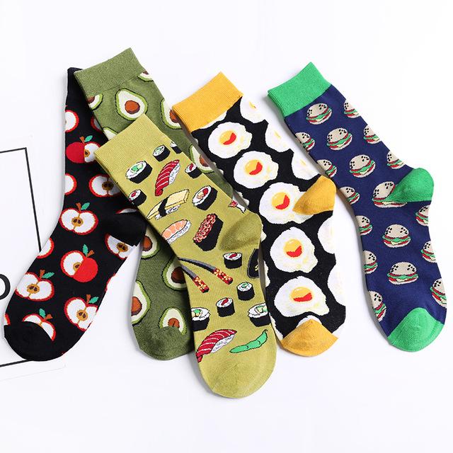 2019新款趣味搞怪情侶襪子水果圖案壽司韓國高筒牛油果荷包蛋少女