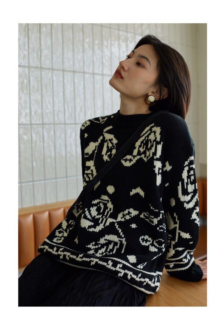 2019韓國東大門寬松慵懶玫瑰花圓領針織衫毛衣女