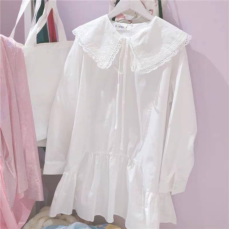 纯色连衣裙娃娃领韩味少女甜美蕾丝花边拼接系带长袖宽松乖巧感