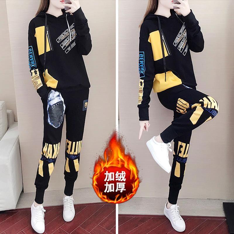 现货冬季运动套装女韩版宽松个性时尚气质休闲卫衣两件套潮