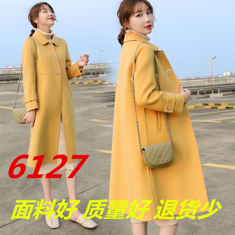 黄色呢子大衣女装秋冬2019年新款赫本风小个子毛呢外套中长款过膝