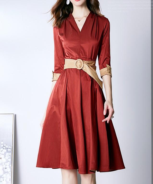 法式復古V領連衣裙伊蓮娜氣質復古高腰顯瘦職業五分袖裙子酒紅色
