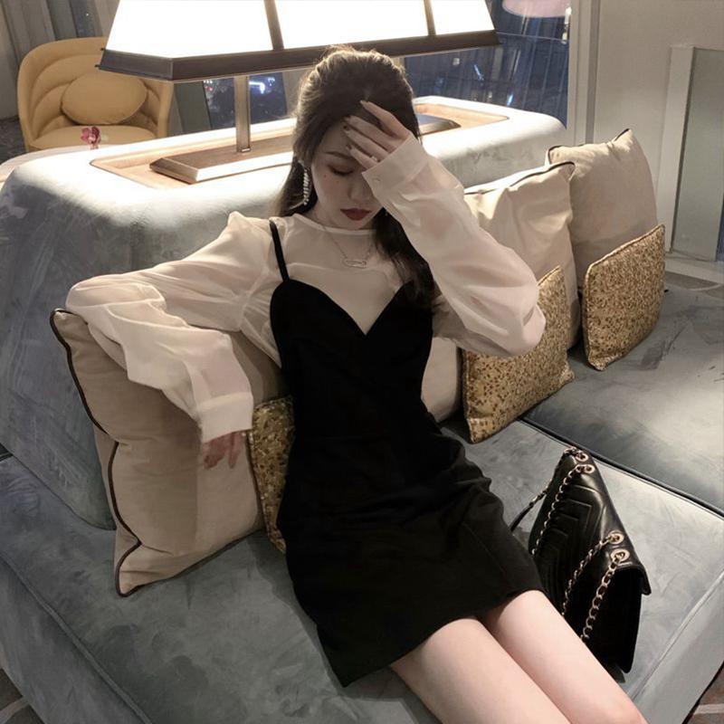 2019新款女装秋冬冷淡风高级感裙子两件套装小香风泫雅吊带连衣裙