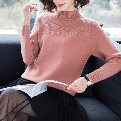 秋冬針織打底羊毛衫半高領羊絨衫女套頭毛衣寬松短款百搭大碼加厚
