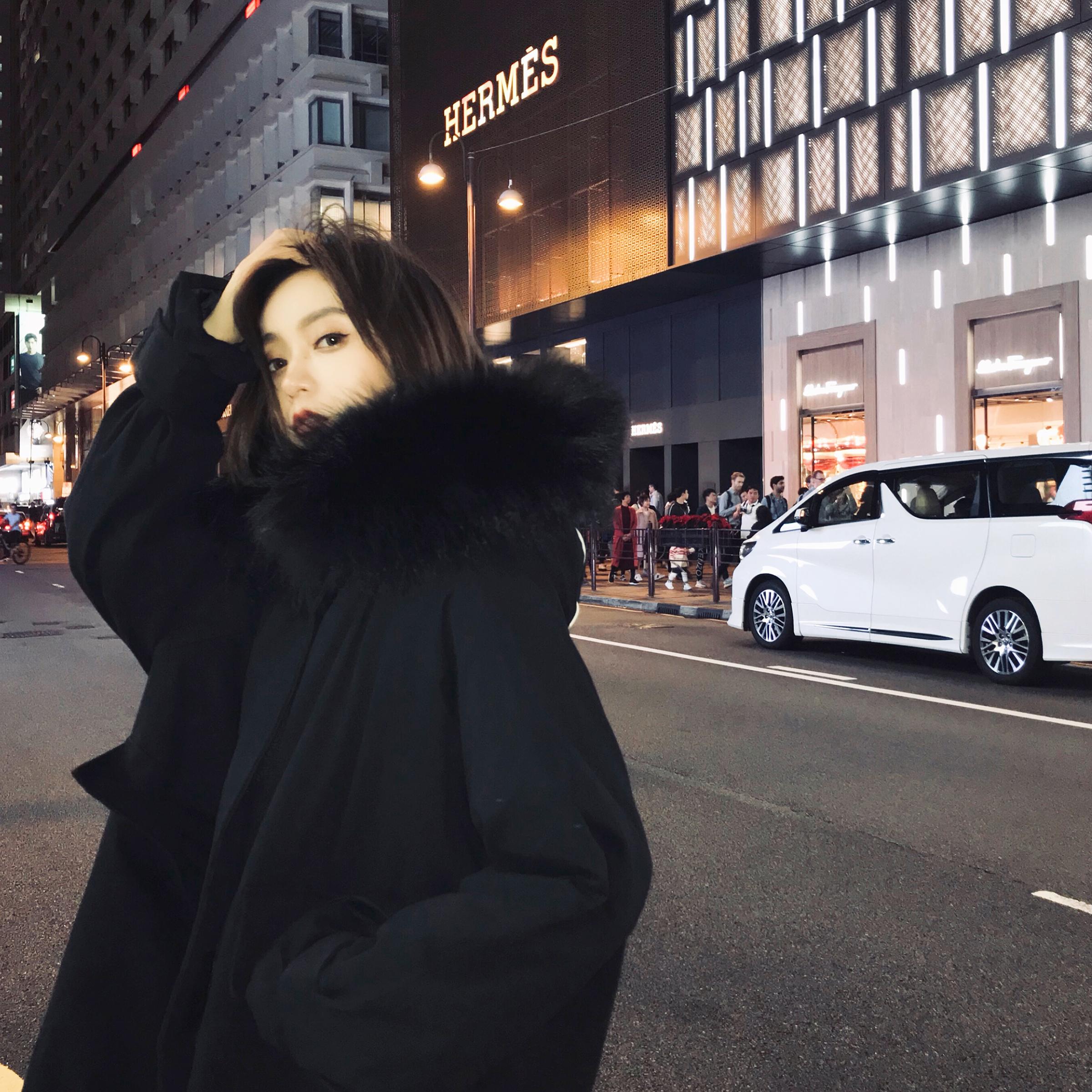 棉服女2019冬季新款大毛领连帽加厚宽松羊羔毛棉衣工装棉袄外套潮