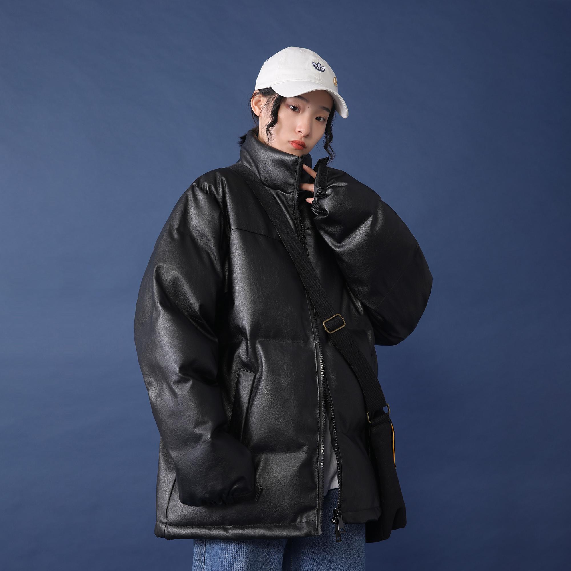 立领皮棉服女2019冬季新款韩版宽松加厚面包服外套短款棉袄