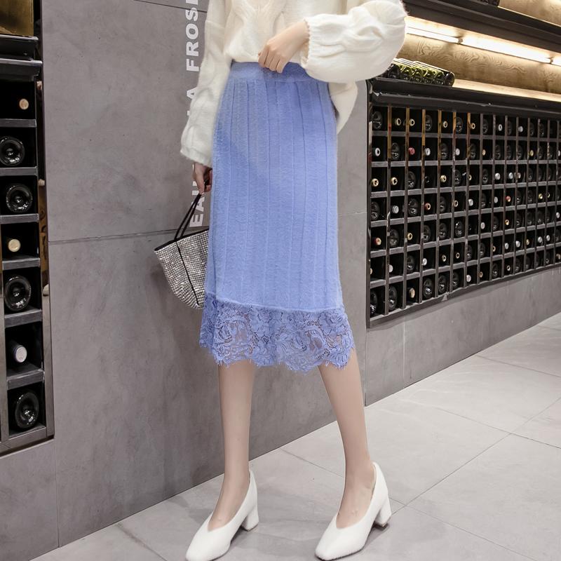 2019女秋冬新款仿貂毛半身裙中長款韓國針織包臀裙修身蕾絲裙百搭