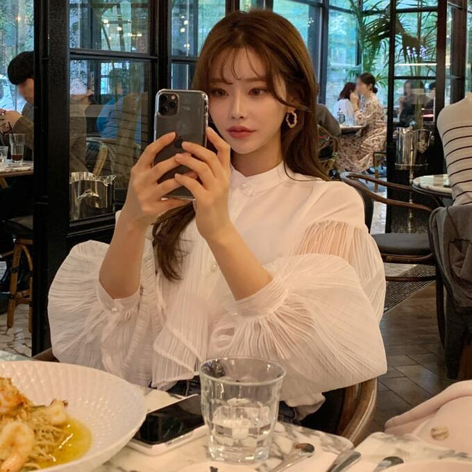 韩国时尚女装早春灯笼袖上衣2020新款淑女风纯色长袖女士衬衫