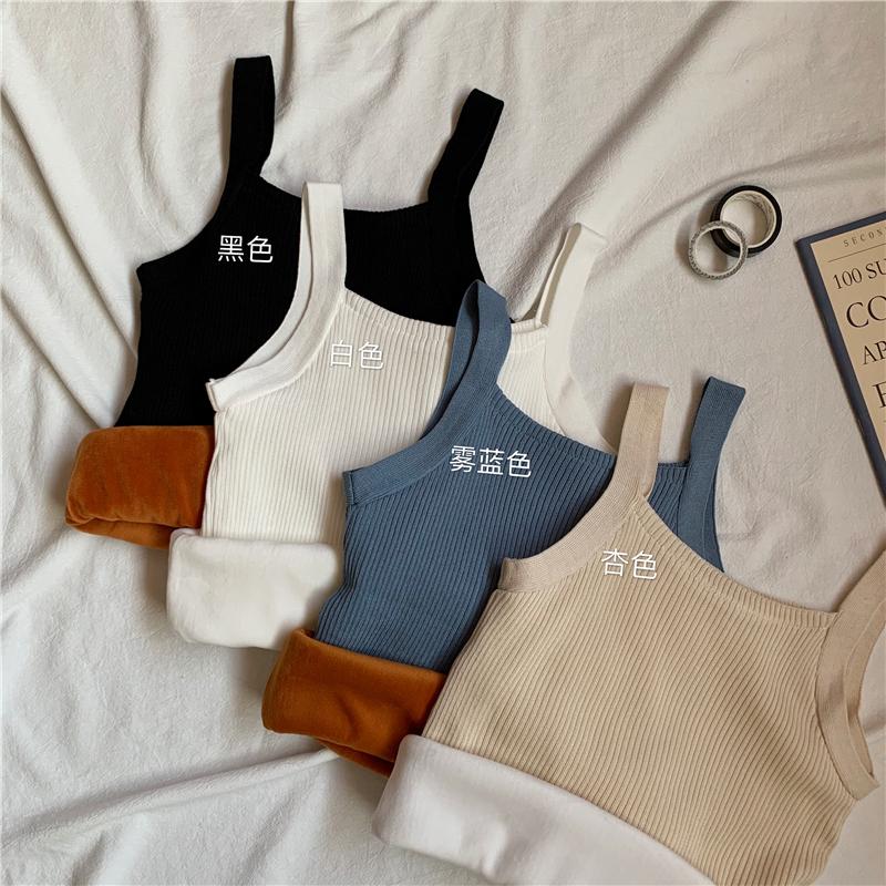 实拍实价 加绒吊带背心女韩版加厚保暖内搭紧身无袖针织打底衫