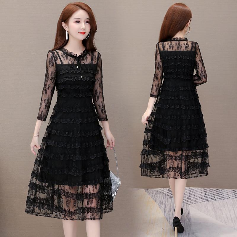 時尚黑色蕾絲連衣裙女2019年秋款新款顯瘦流行過膝洋氣秋冬打底裙