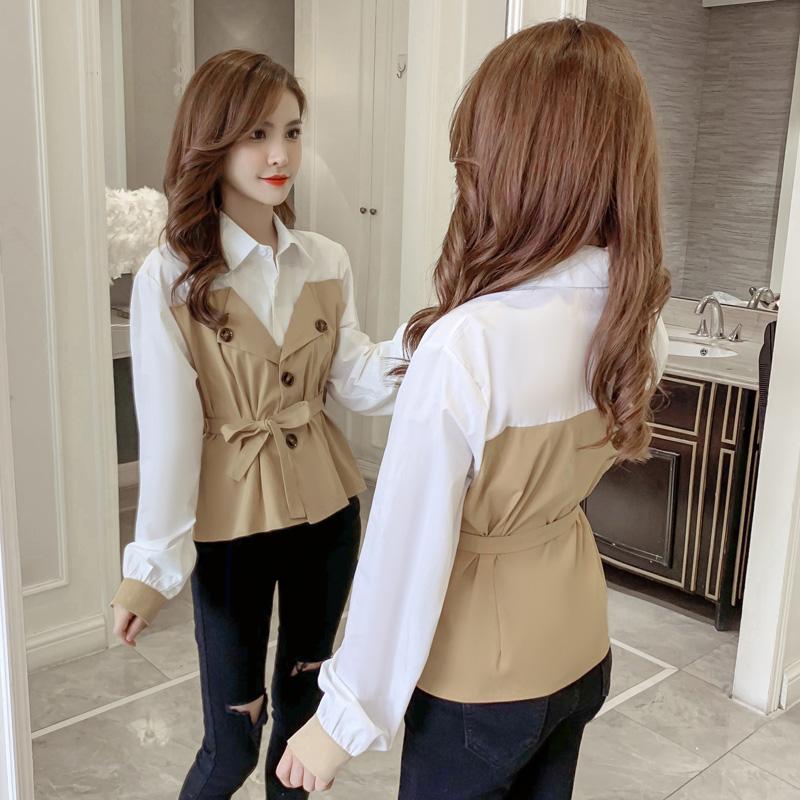 2019亚博娱乐平台入口新款假两件套衬衫 韩版系带衬衣领 上身超显瘦