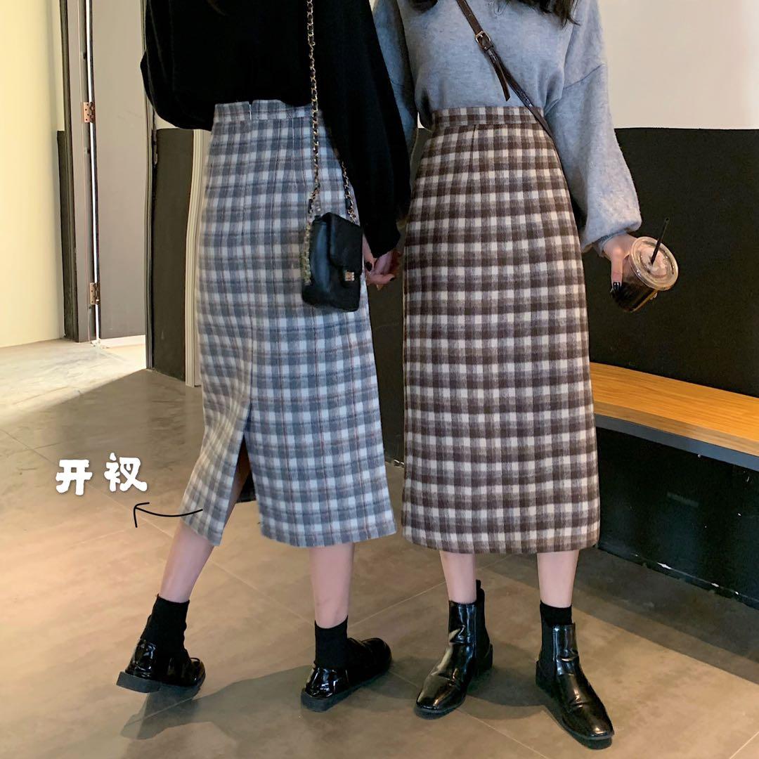 實拍控價 2019韓版新款超火高腰顯瘦中長款格子毛呢半身裙