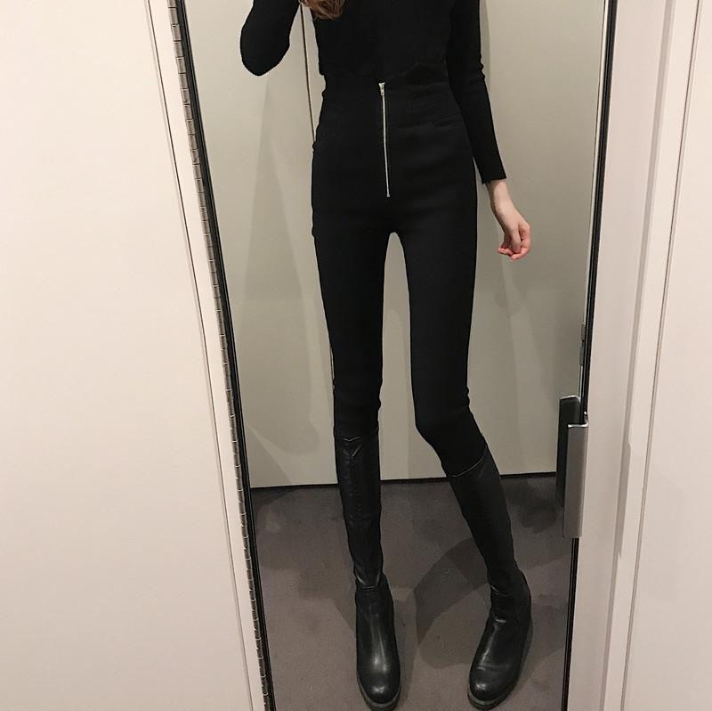 實拍實價  高腰拉鏈加絨小黑褲顯瘦百搭小腳褲冬季褲子