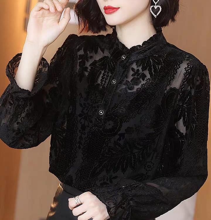 加绒打底衫女2019秋冬新款立领长袖衬衫欧货时尚洋气小衫植绒上衣