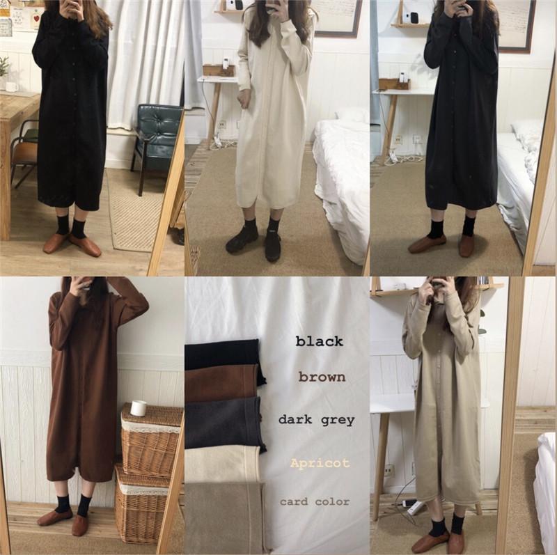 實拍 控價+5 韓系polo領百搭兔絨包芯紗單排扣氣質連衣裙開衫 好質量五色