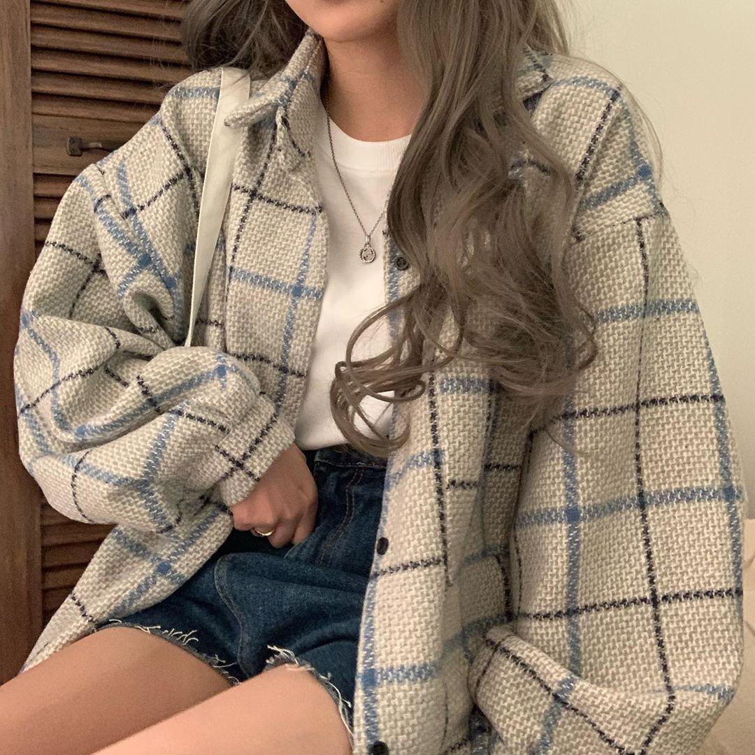 少女系 ins 學院風撞色條紋方格燈籠袖Polo領百搭寬松襯衫外套女