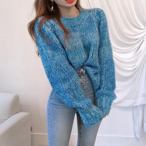 時尚洋氣參色套頭針織衫秋冬保暖長袖圓領毛衣