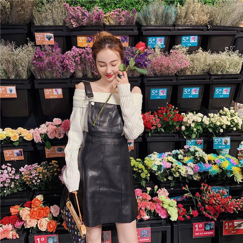 實拍實價 新款韓版減齡皮質吊帶背心裙+內搭一字肩針織衫
