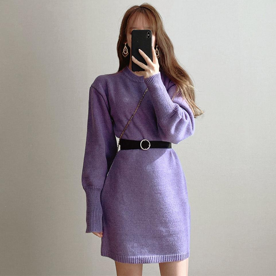 CHAO愛紫羅蘭裙紙~簡約ops圓領高腰燈籠袖針織連衣裙