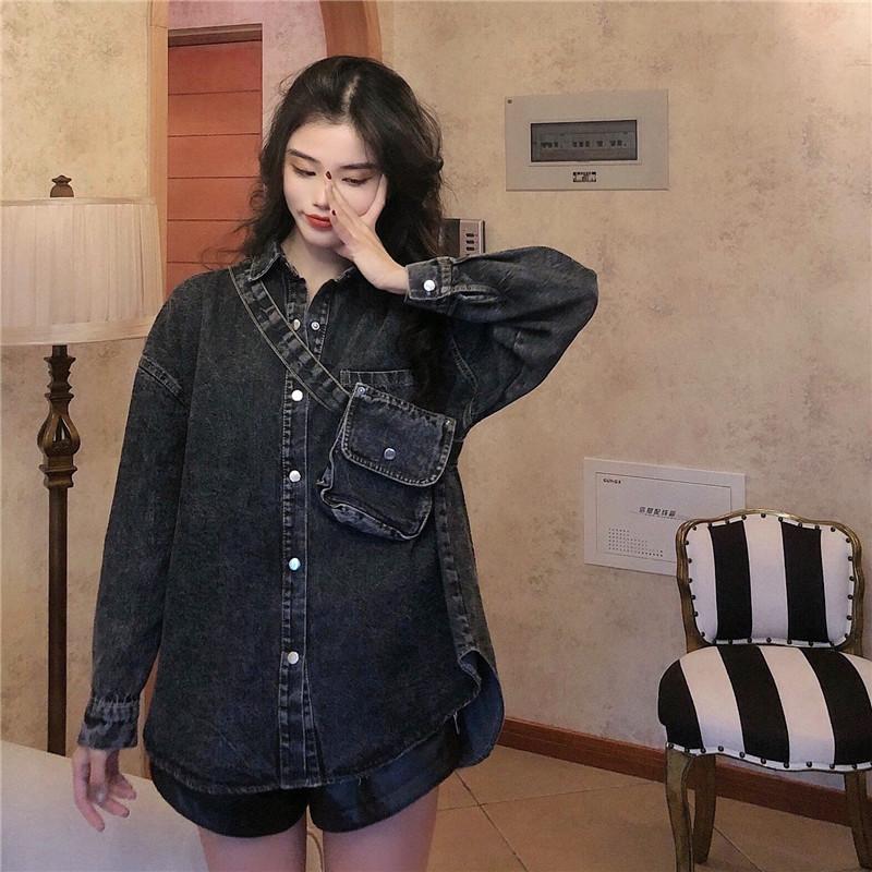 實拍實價 韓版牛仔襯衫中長款寬松時尚收腰系帶小腰包牛仔外套