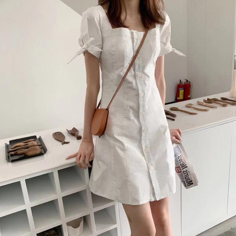 2019流行抖音網紅夏一字肩連衣裙矮小個子夏裝復古智熏法式桔梗裙
