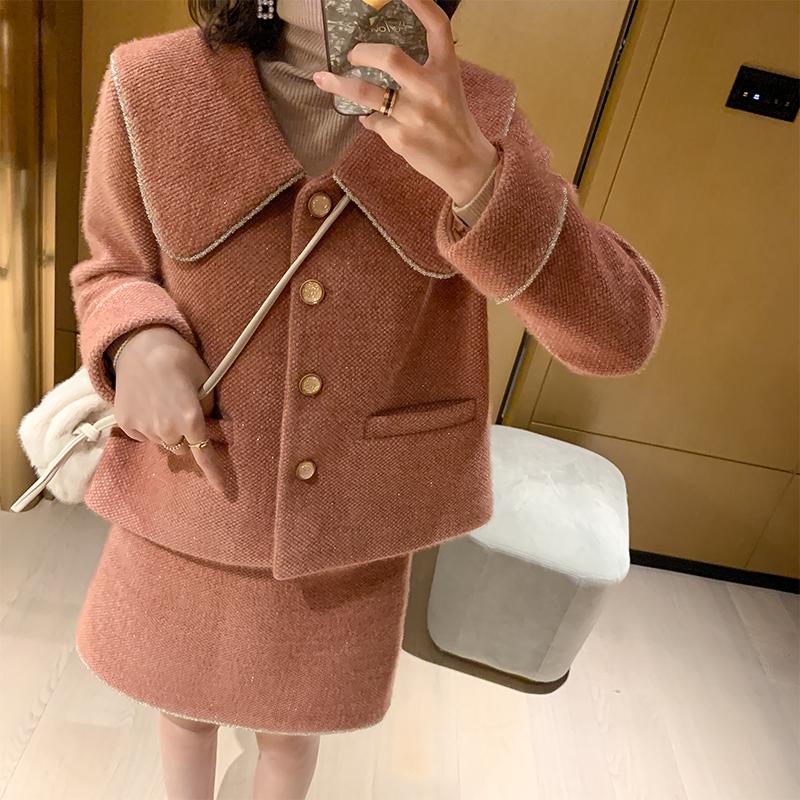 MUKOK短裙套装女秋冬2019新款女神时尚气质小个子显高两件套洋气