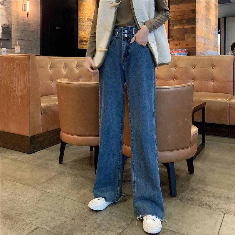 實拍實價 韓版寬松顯瘦百搭直筒高腰顯瘦闊腿牛仔褲