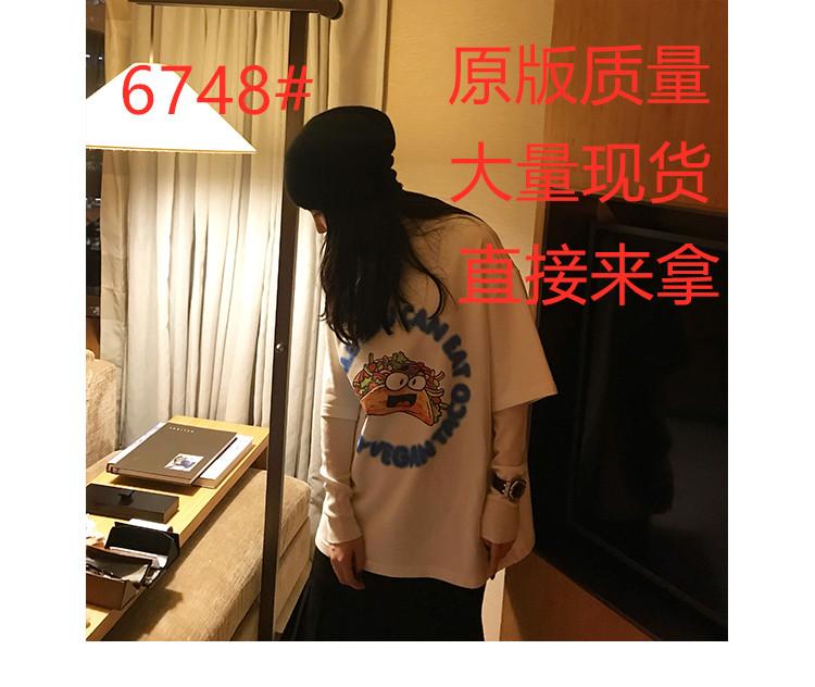 COOKADAILY宽松圆领卡通印花T恤女2019冬季新款加绒打底短袖上衣