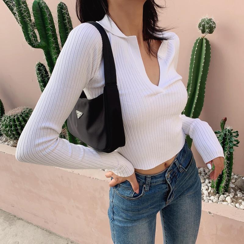 LIVIA短款polo針織長袖打底衫2019秋新款修身v領顯瘦氣質外穿上衣