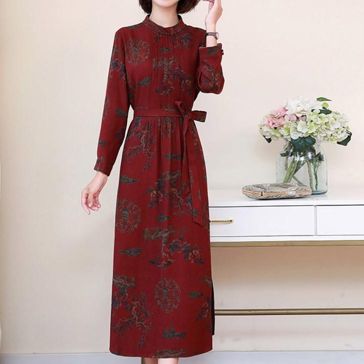 專柜加厚香云紗長袖秋款真絲連衣裙中長款改良旗袍杭州絲綢年輕款