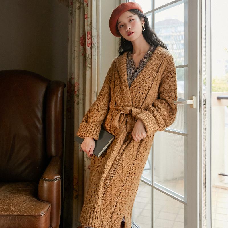 吉普賽人棕黃色復古粗針厚實長款毛衣外套19秋冬