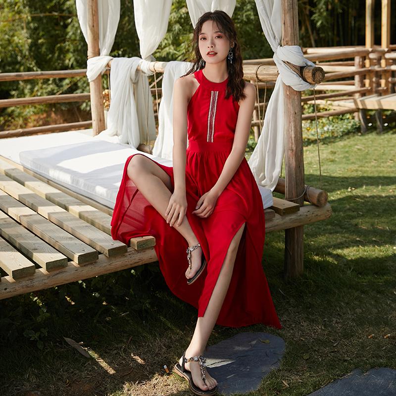 紅色連衣裙女夏季2019新款吊帶露背沙灘裙巴厘島海邊度假長裙超仙