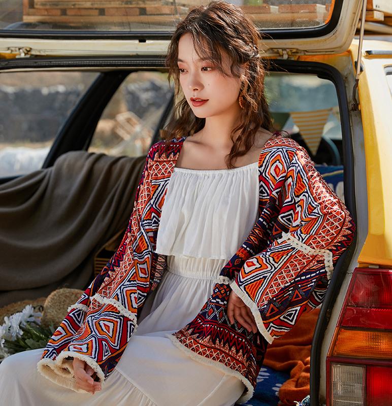 民族風印花寬松海邊度假披肩泰國旅游防曬衣開衫女